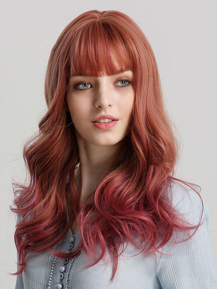 Neat Bang Synthetic Long Wavy Wig - multicolor