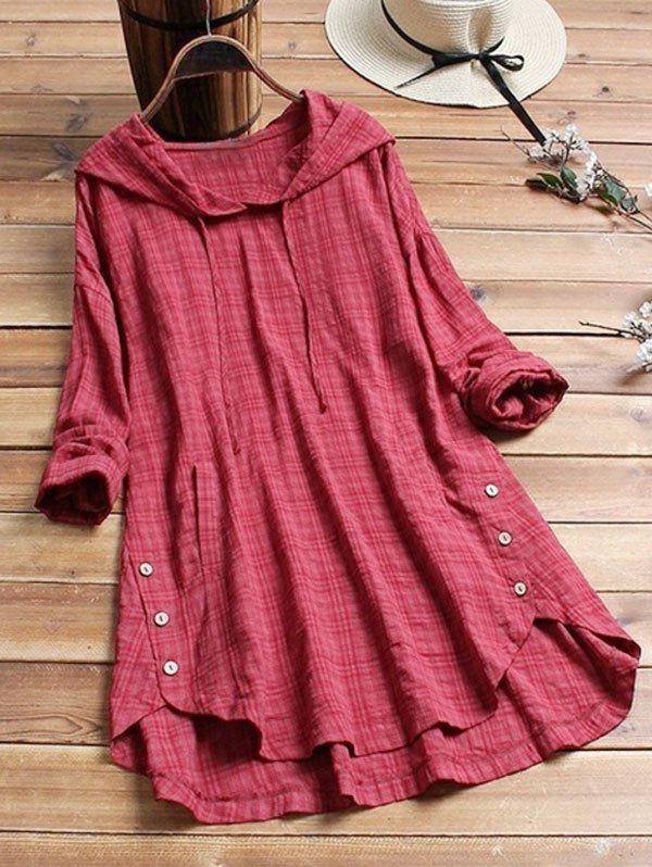 Hooded Checked Long Sleeve Plus Size Blouse - RED M
