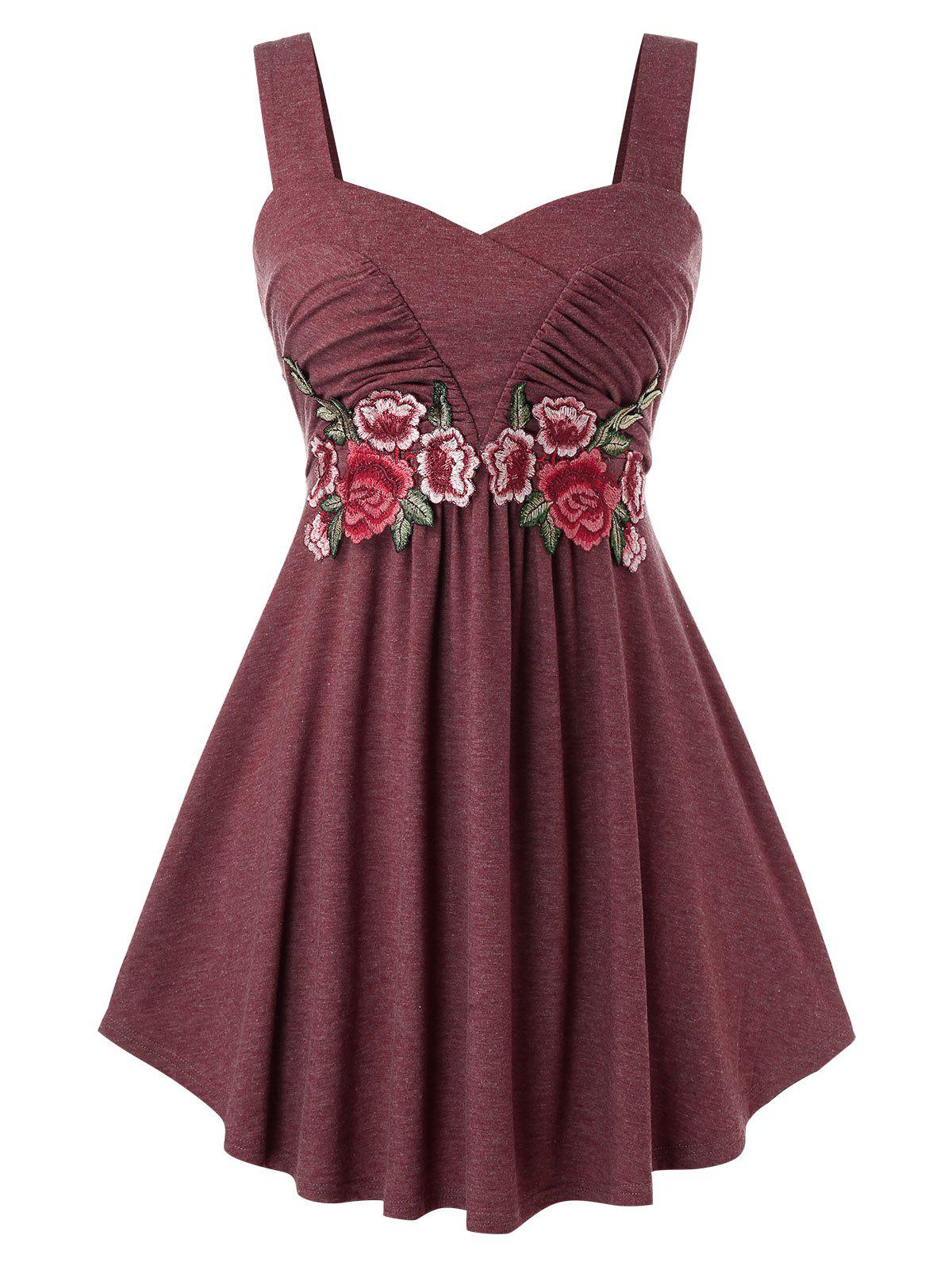 Plus Size Sweetheart Flower Embroidered Tank Top - RED WINE L