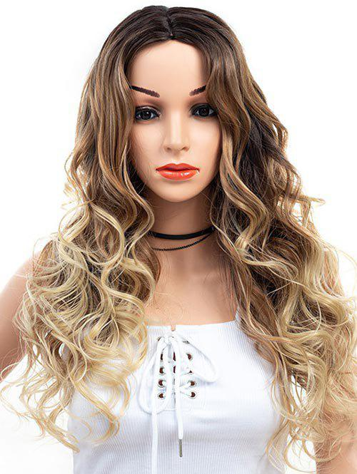 Synthetic Ombre Center Parting Body Wave Wig - DEEP COFFEE
