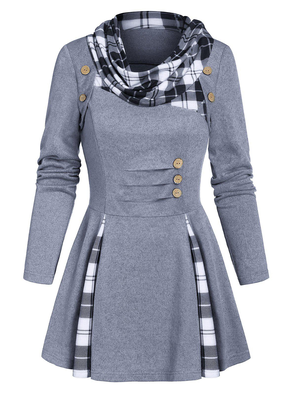 Plaid Print Ruched Mock Button Flare Sweater - LIGHT SLATE GRAY M