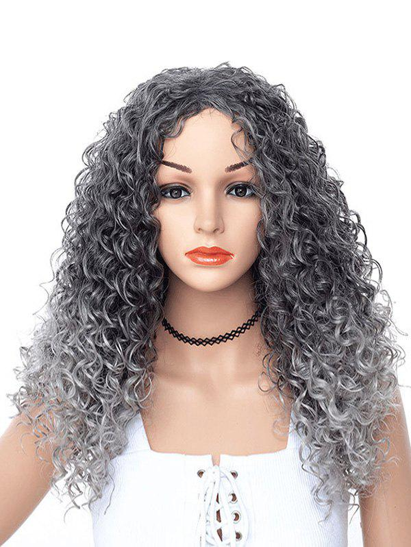 Curly Center Part Synthetic Long Wig - CARBON GRAY
