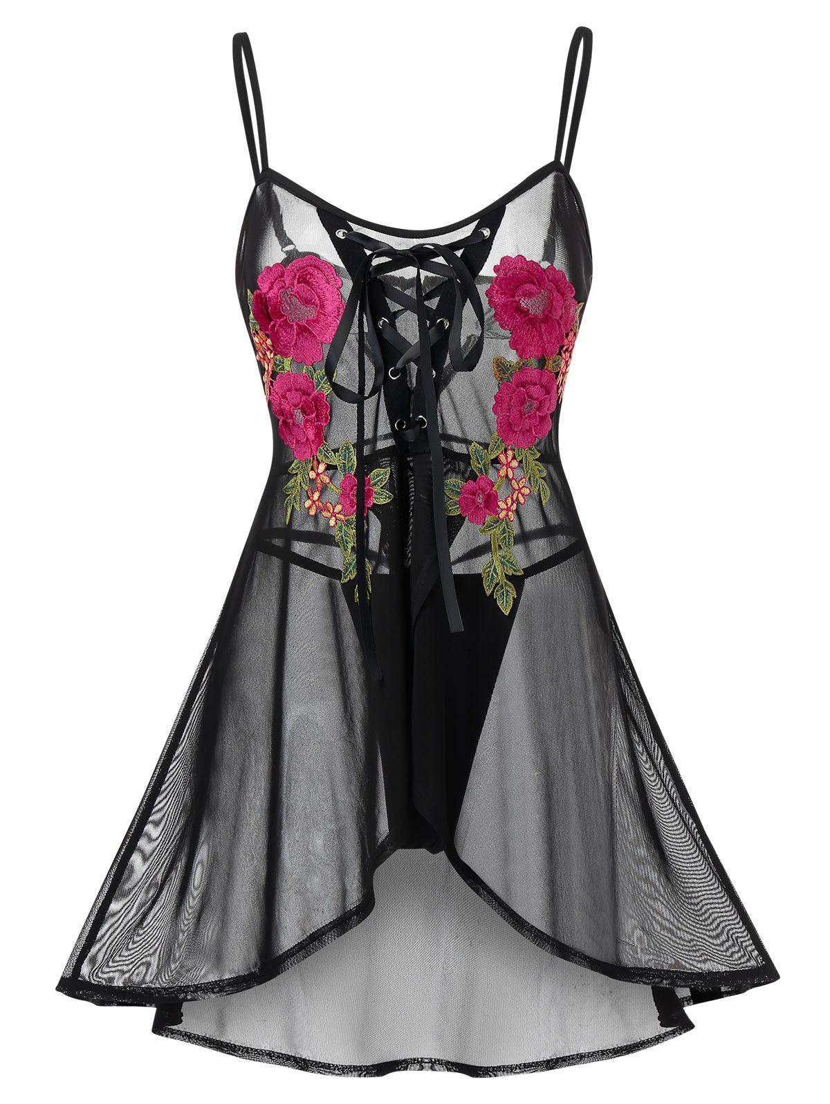 Plus Size Lace Up Flower Embroidered Lingerie Babydoll - BLACK 5X