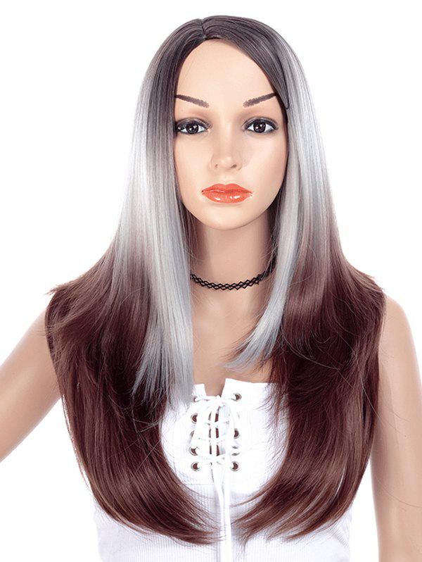 Straight Layered Ombre Long Synthetic Wig - COFFEE