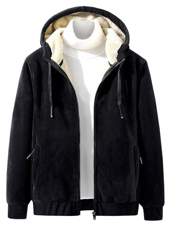 Solid Color Plush Hooded Jacket - BLACK S