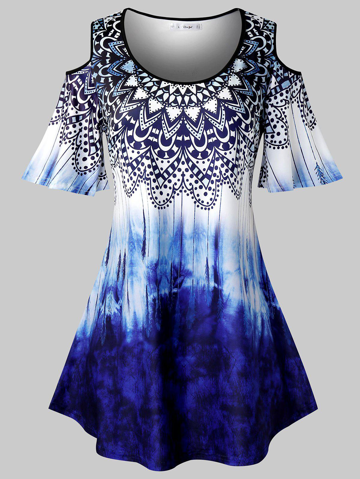 Plus Size Tribal Print Tie Dye Cold Shoulder T Shirt - COBALT BLUE 4X
