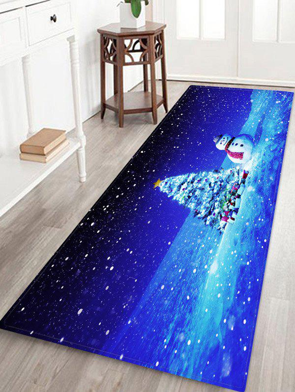 Christmas Tree Gifts Snowman Pattern Water Absorption Area Rug - multicolor W16 X L47 INCH