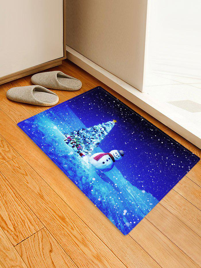 Christmas Tree Gifts Snowman Pattern Water Absorption Area Rug - multicolor W24 X L35.5 INCH