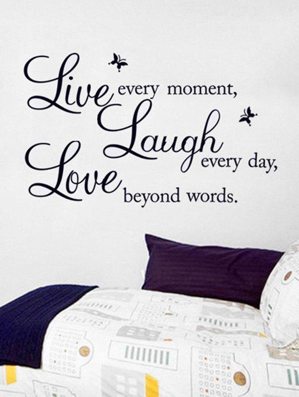 Proverbs and Butterflies Print Removable Wall Art Stickers - BLACK 25X70CM
