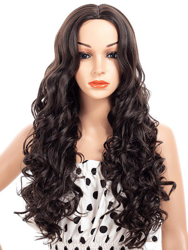 Center Part Curly Synthetic Long Wig - BLACK
