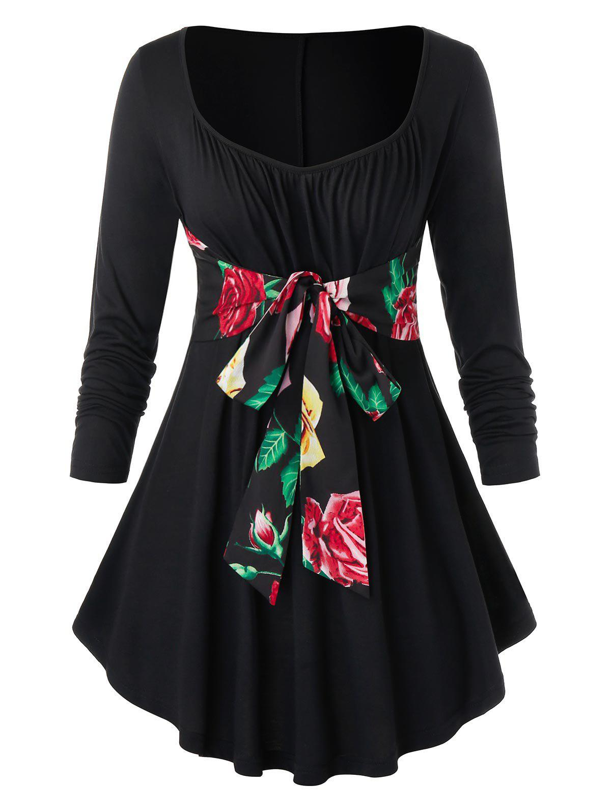 Plus Size Belted Floral T-shirt - BLACK 1X