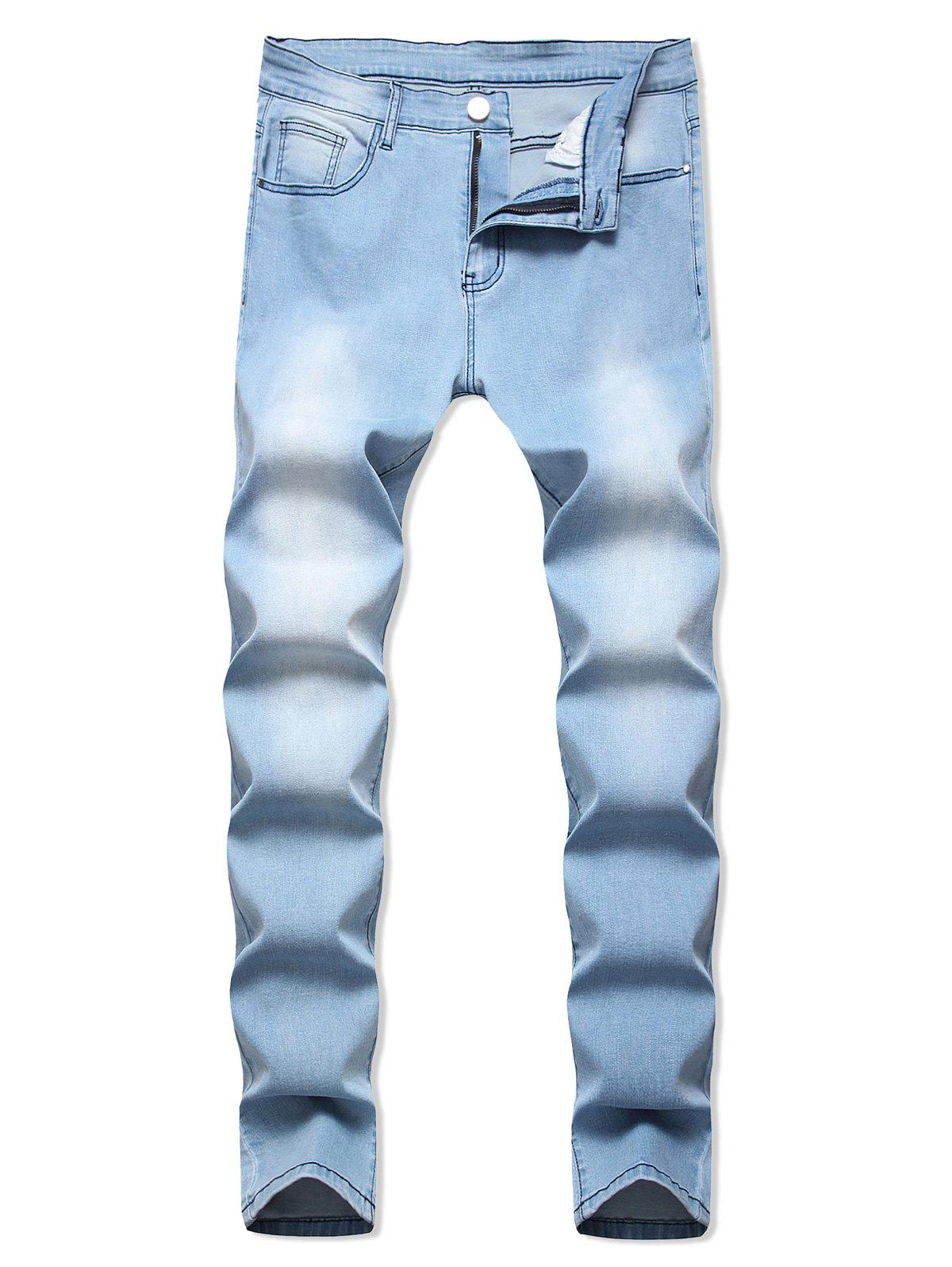 Light Wash Zip Fly Casual Jeans - JEANS BLUE 40