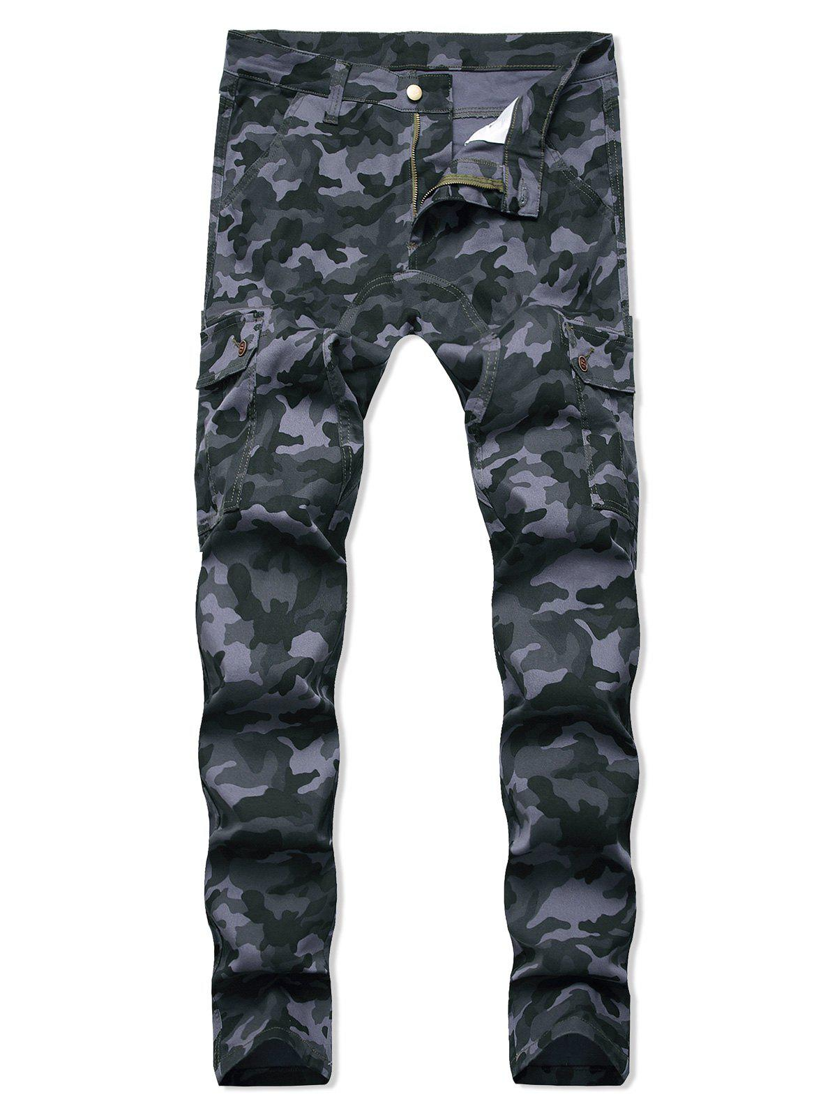 Camo Printed Zipper Fly Casual Jeans - ACU CAMOUFLAGE 36