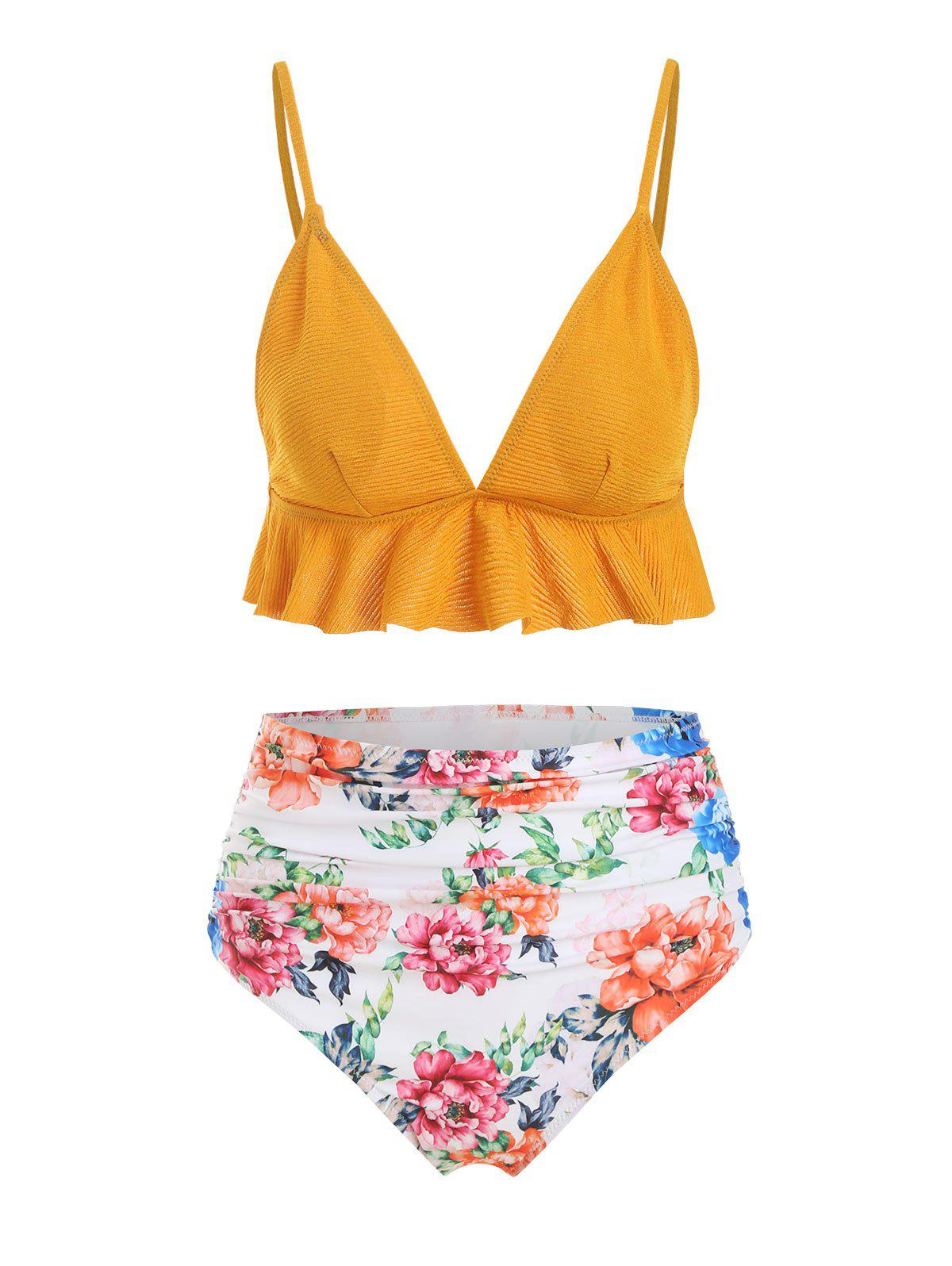 Crinkly Flounce Ruched Floral Bikini Swimsuit - GOLDEN BROWN L