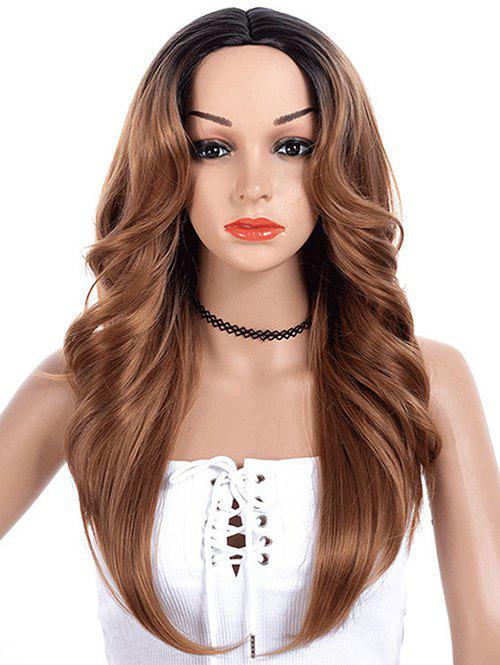 Center Part Wave Long Synthetic Wig - COFFEE