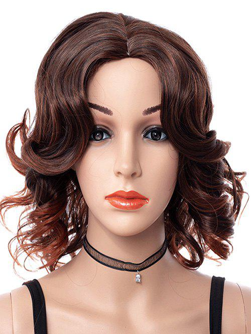 Center Part Curly Medium Synthetic Wig - COFFEE