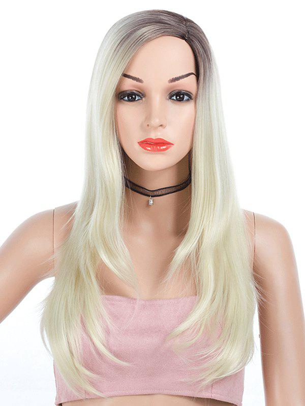 Side Part Straight Ombre Long Synthetic Wig - BEIGE