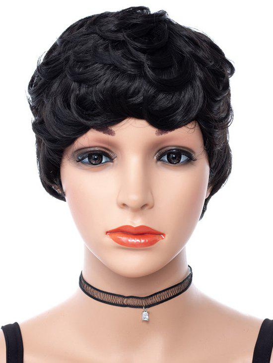 Solid Curly Short Synthetic Wig - BLACK