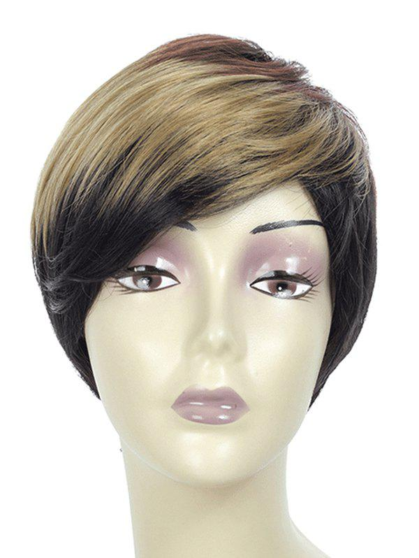 Side Bang Short Straight Ombre Synthetic Wig - TAUPE