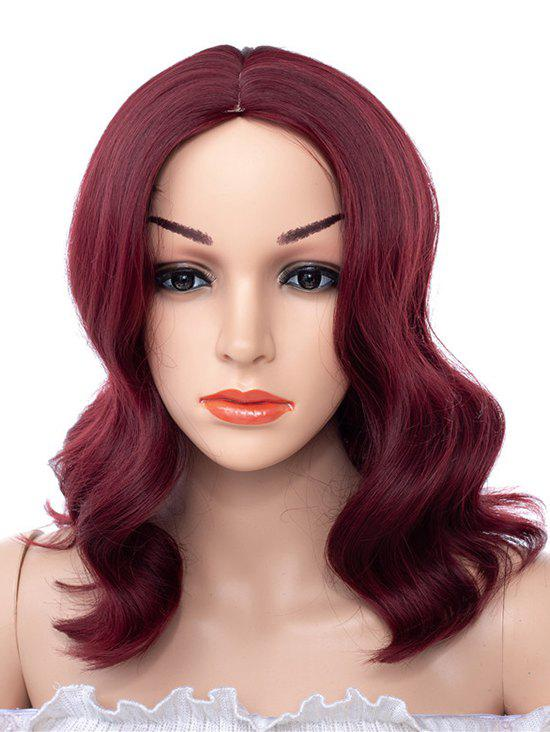Center Part Synthetic Medium Body Wave Wig - RED WINE