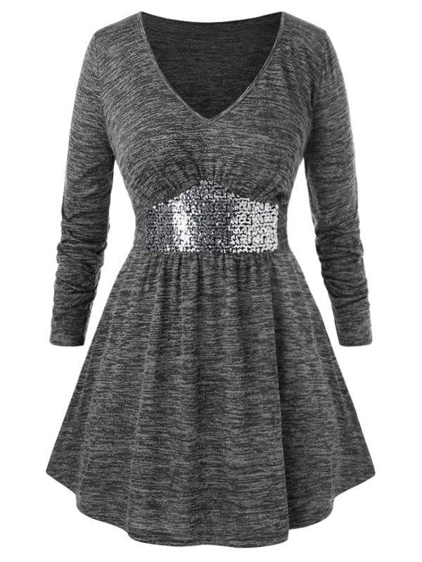 Plus Size Marled Sequins T Shirt - GRAY 2X