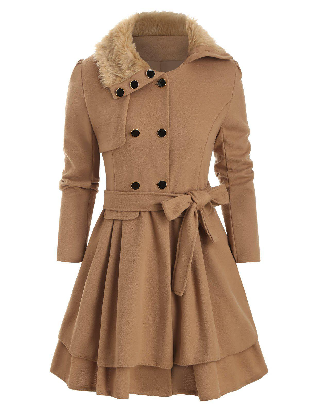 Faux Fur Collar Double Breasted Wool Blend Coat - CAMEL BROWN L