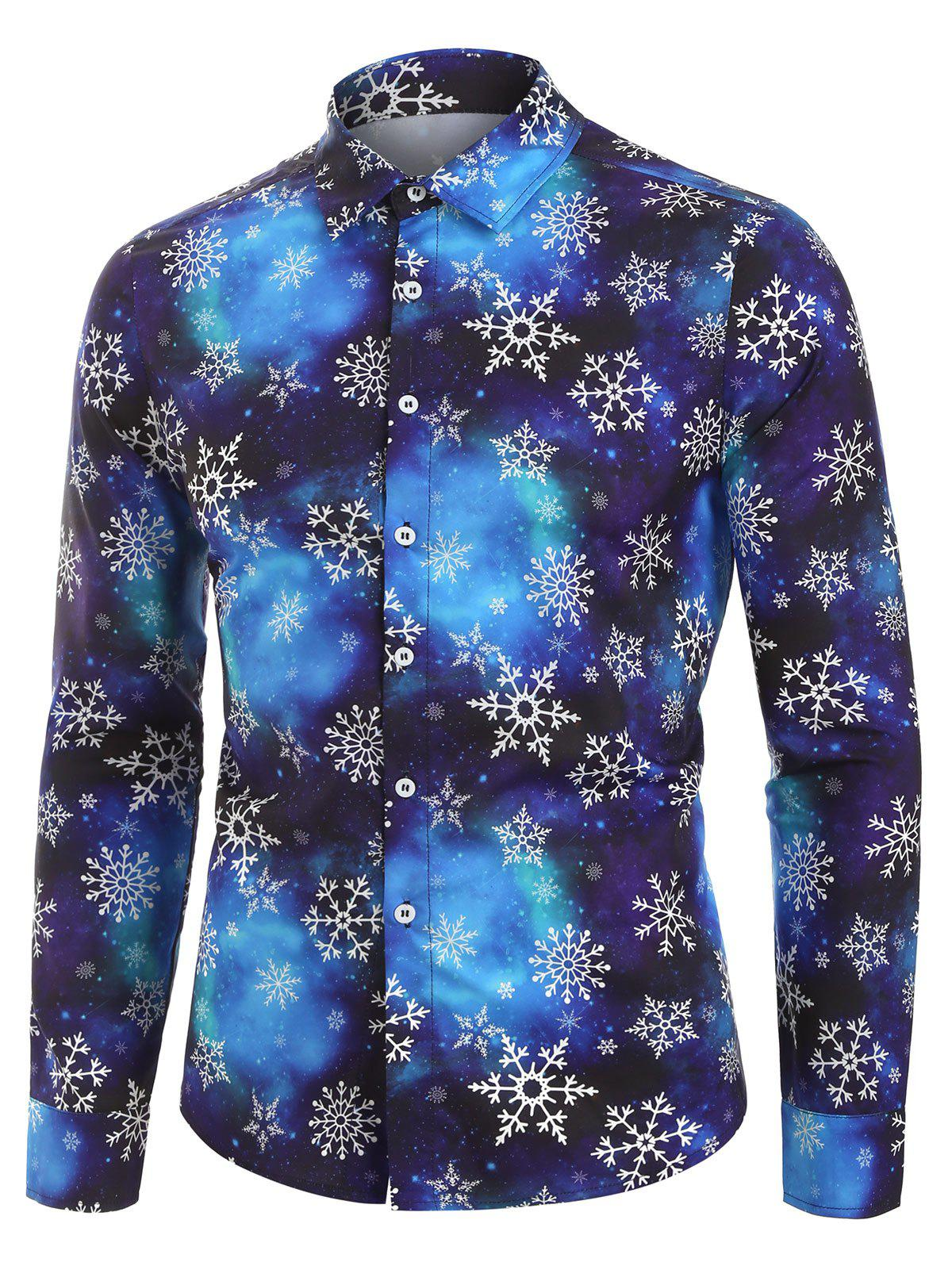 Christmas Snowflake Galaxy Print Button Up Shirt - multicolor A 3XL