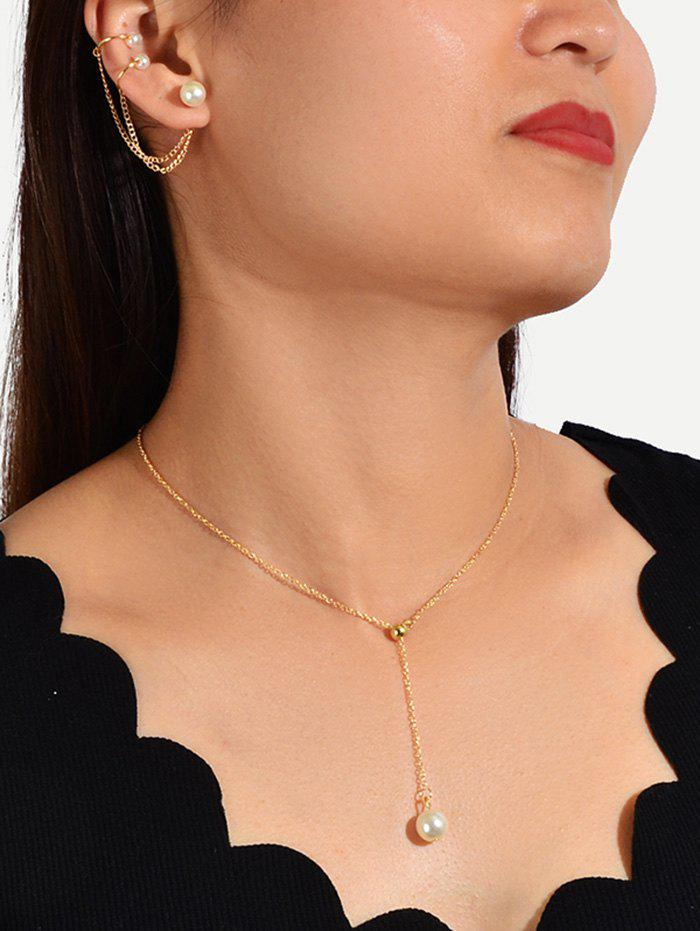 Faux Pearl Brief Chain Necklace Earring Set - GOLD