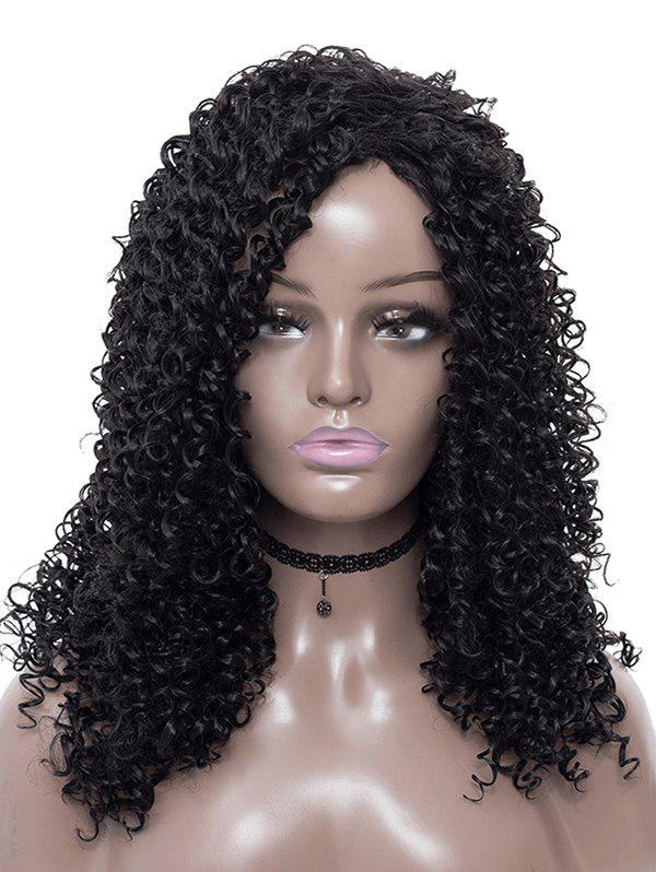 Side Part Afro Curl Synthetic Long Wig - BLACK