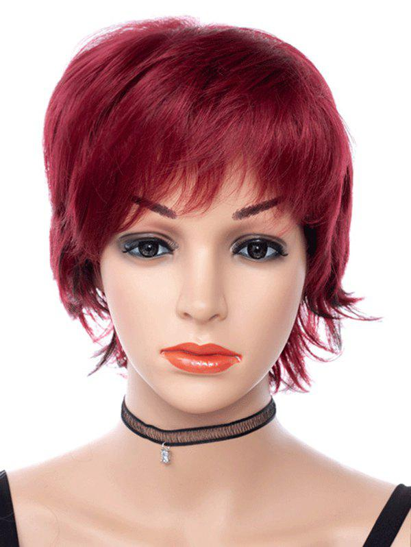 Free Part Short Straight Pixie Cut Synthetic Wig - RED WINE