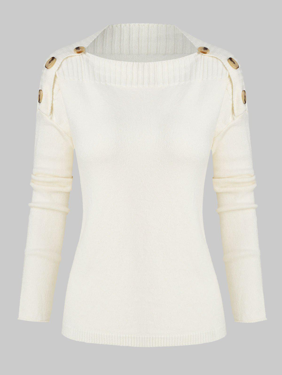 Buttons Drop Shoulder Jumper Sweater - CRYSTAL CREAM ONE SIZE