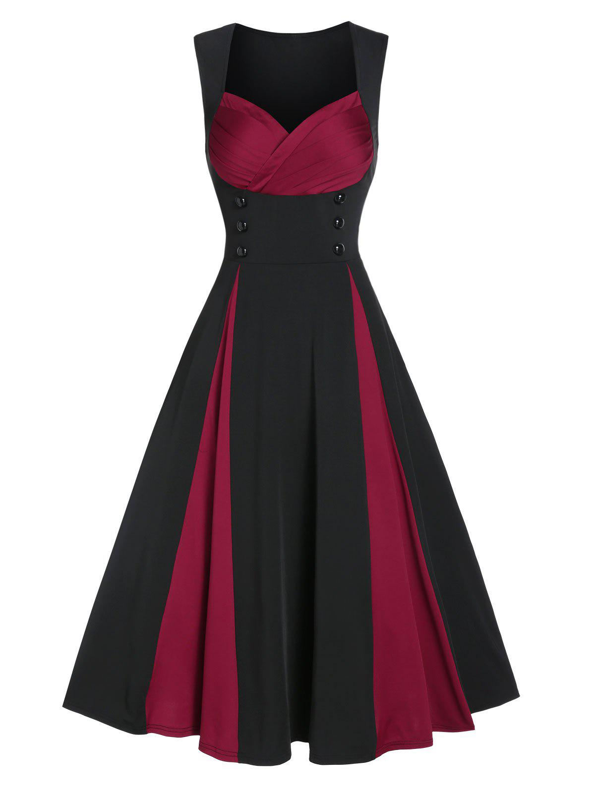 Mock Button Sleeveless Contrast Prom Dress - BLACK L