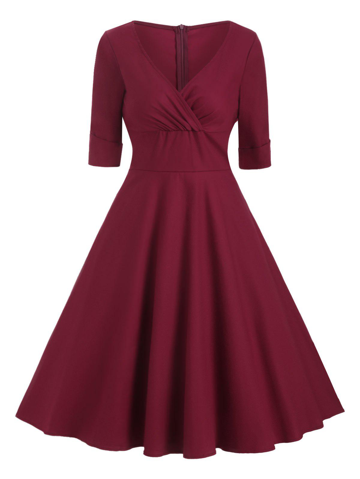 Cuffed Sleeves Solid A Line Dress - RED WINE S