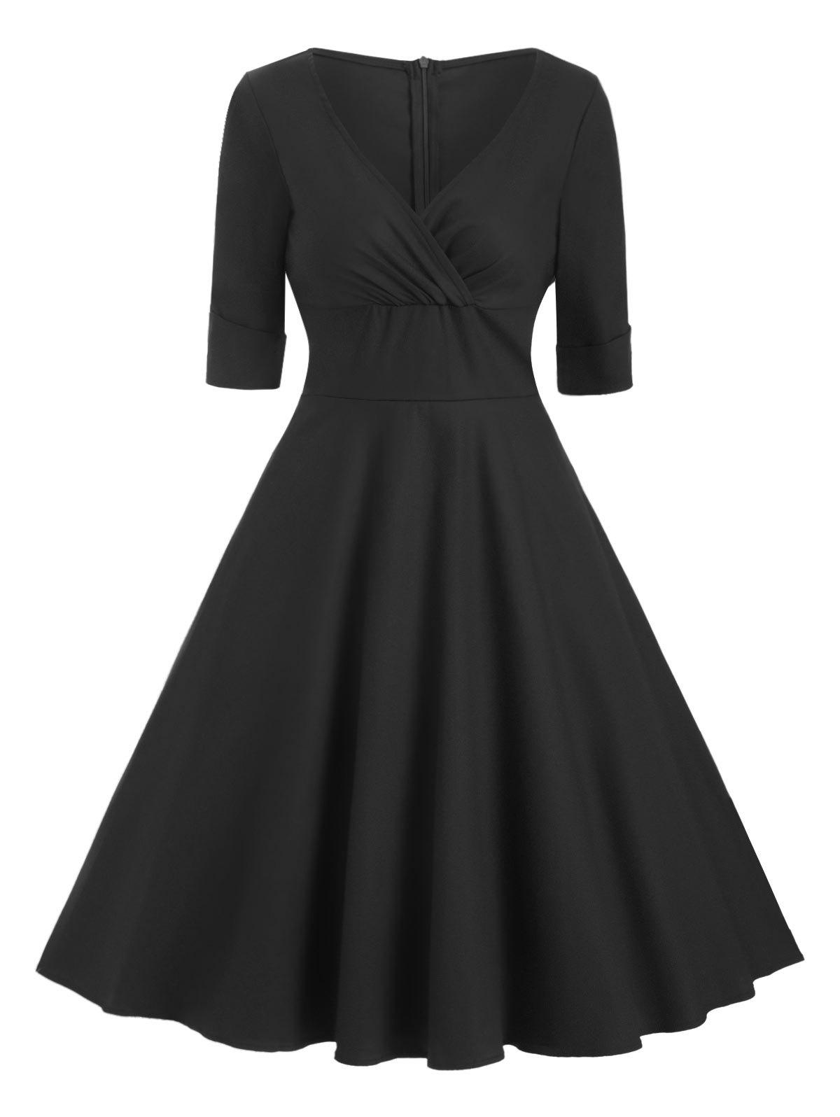 Cuffed Sleeves Solid A Line Dress - BLACK 2XL