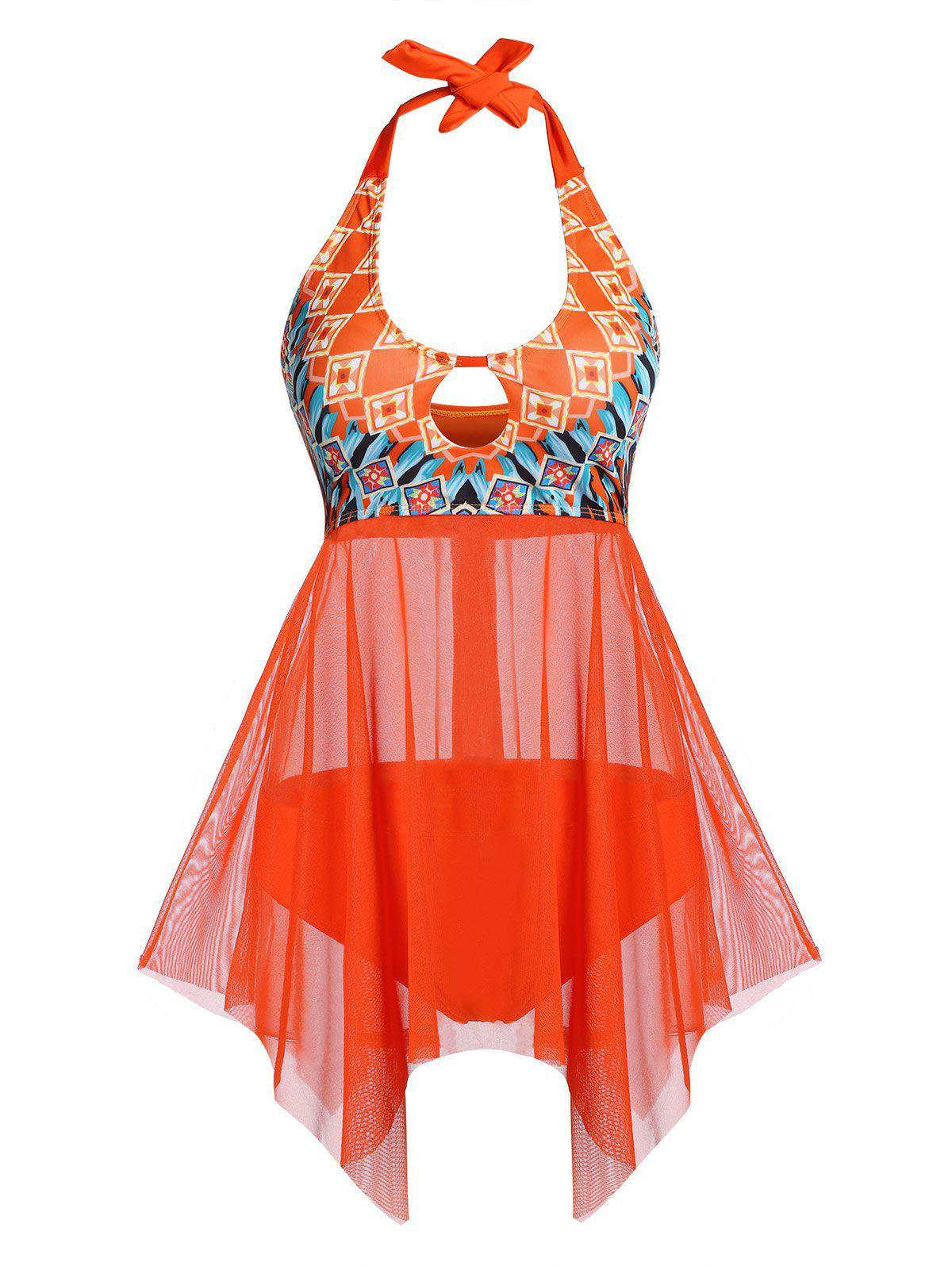 Halter Handkerchief Cutout Tankini Swimsuit - BRIGHT ORANGE 3XL