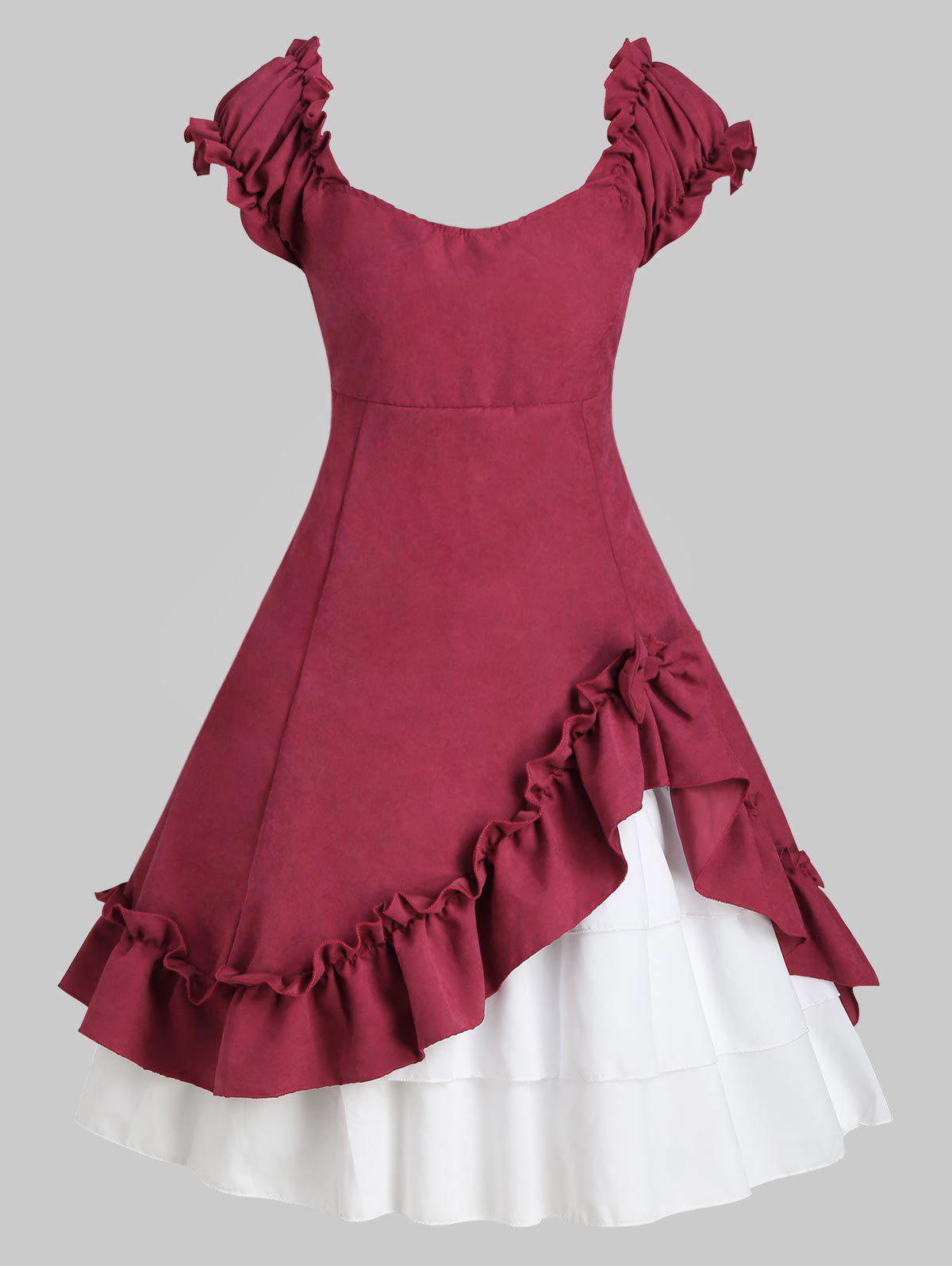 Bowknot Ruffles Tiered Vintage Dress - TULIP PINK L