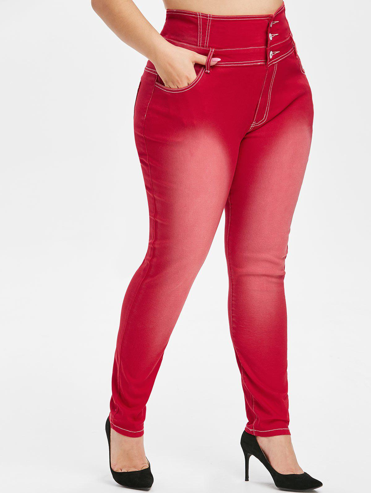 Plus Size Button Fly Faded Skinny Jeans - LAVA RED 5X