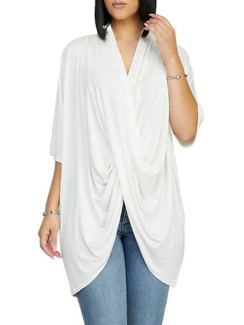 Cross Front Drape Batwing Sleeve V Neck T-shirt