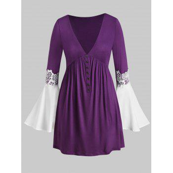 Plus Size Low Cut Bell Sleeve T Shirt