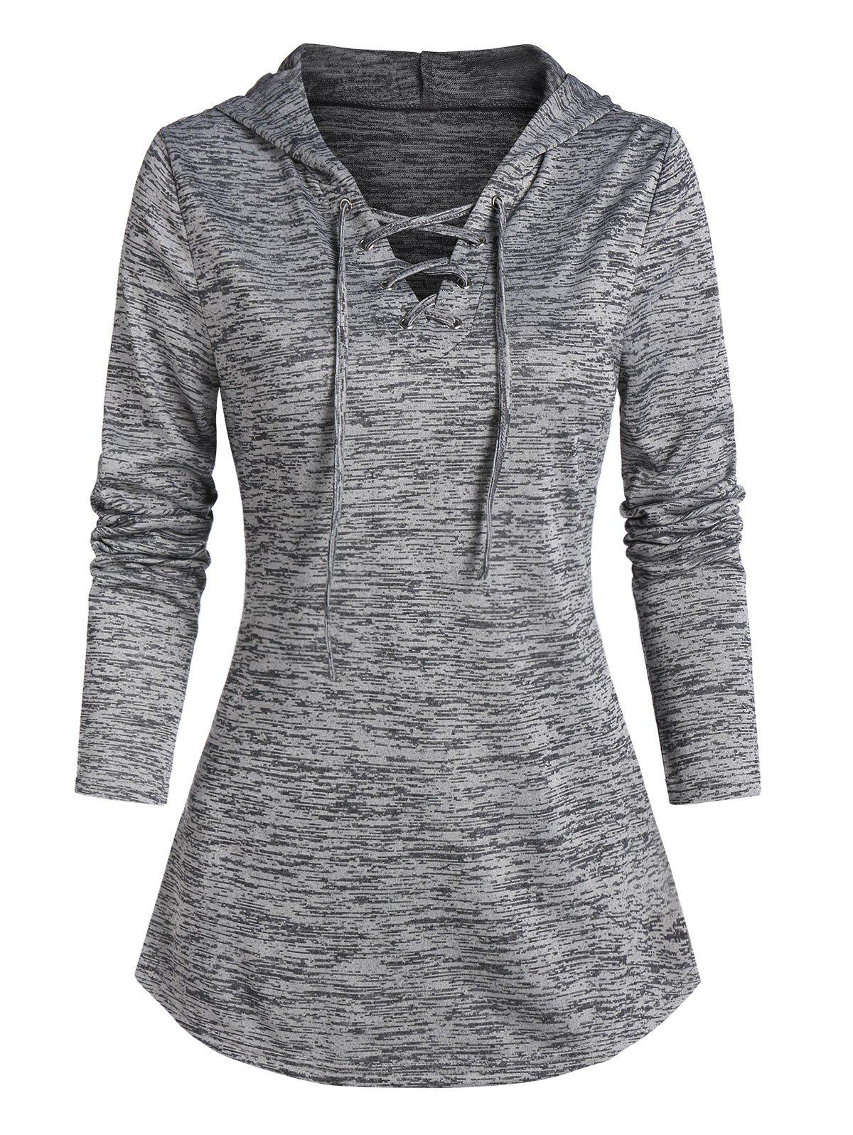 Space Dye Print Lace-up Curved Hem Hoodie - ASH GRAY XL
