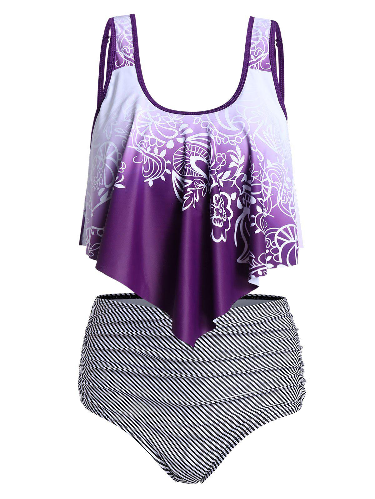 Flower and Striped Print Ruched Tankini Swimwear - PURPLE L