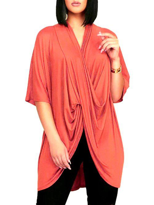 Cross Front Drape Batwing Sleeve V Neck T-shirt - LIVING CORAL S
