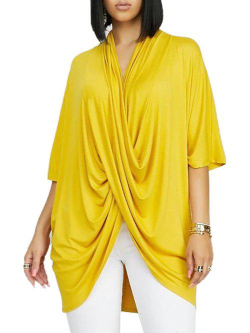 Cross Front Drape Batwing Sleeve V Neck T-shirt - YELLOW 2XL