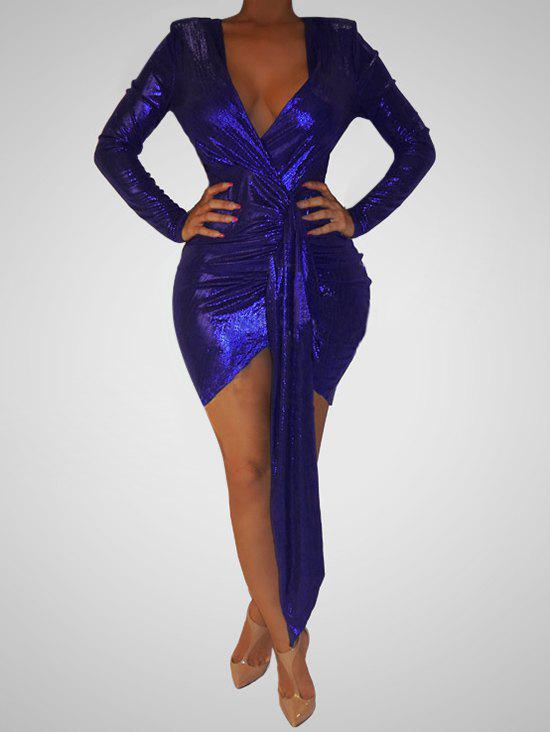 Drape Front Sparkly Plunging Bodycon Dress - DEEP BLUE M