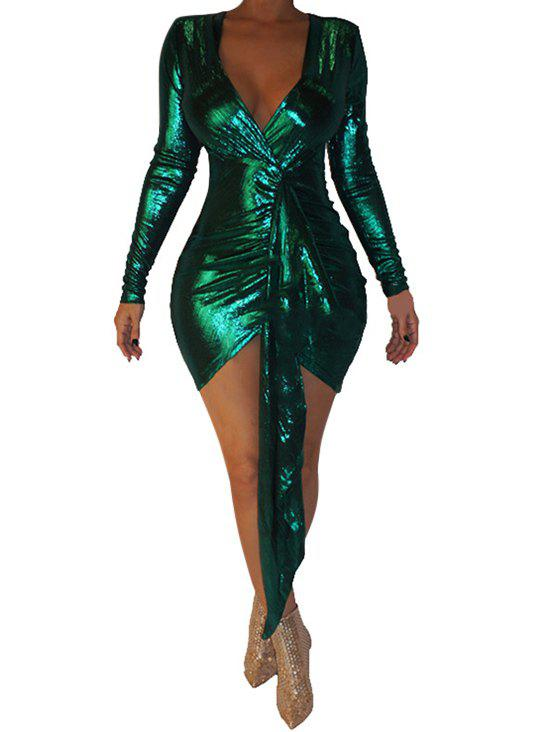 Drape Front Sparkly Plunging Bodycon Dress - DEEP GREEN S