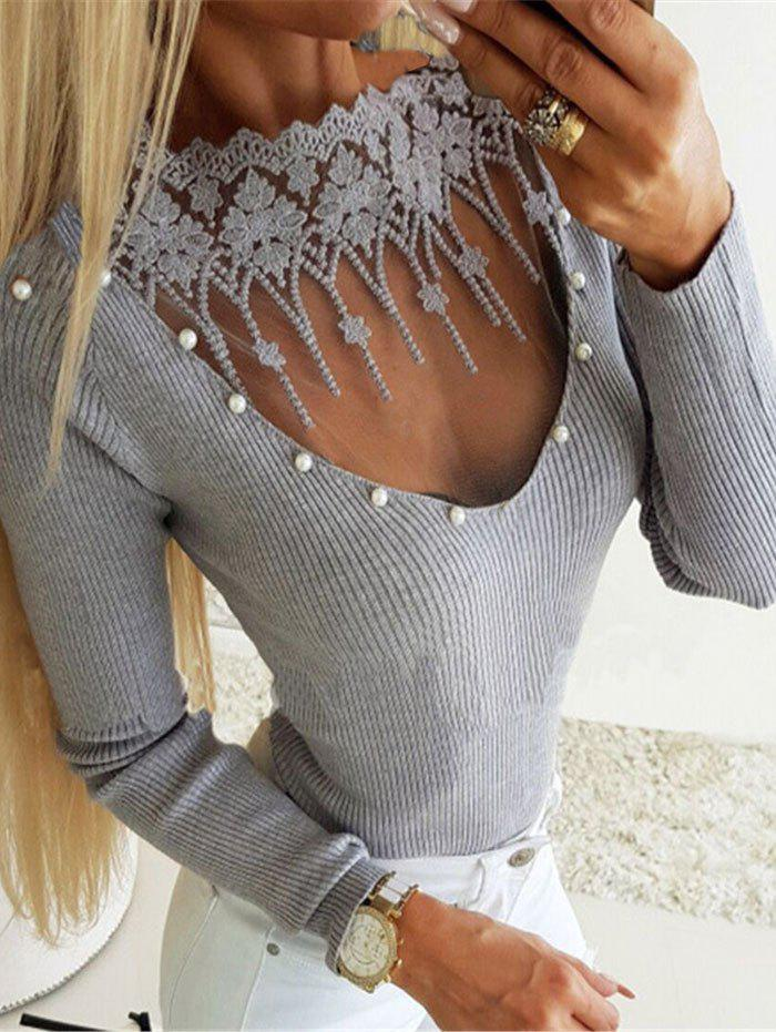 Beading Embellished Ribbed Lace Insert Knitwear - GRAY 3XL