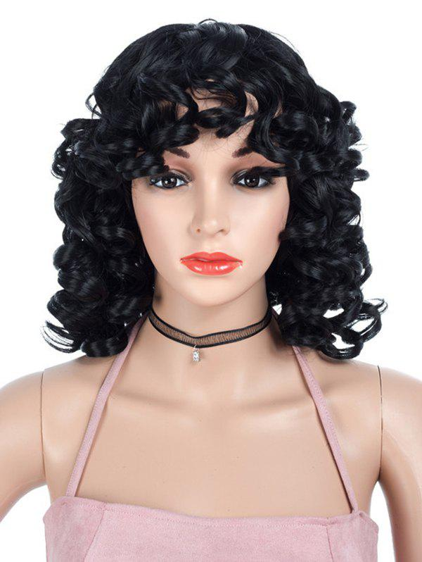 Medium Side Bang Curly Synthetic Capless Wig - BLACK