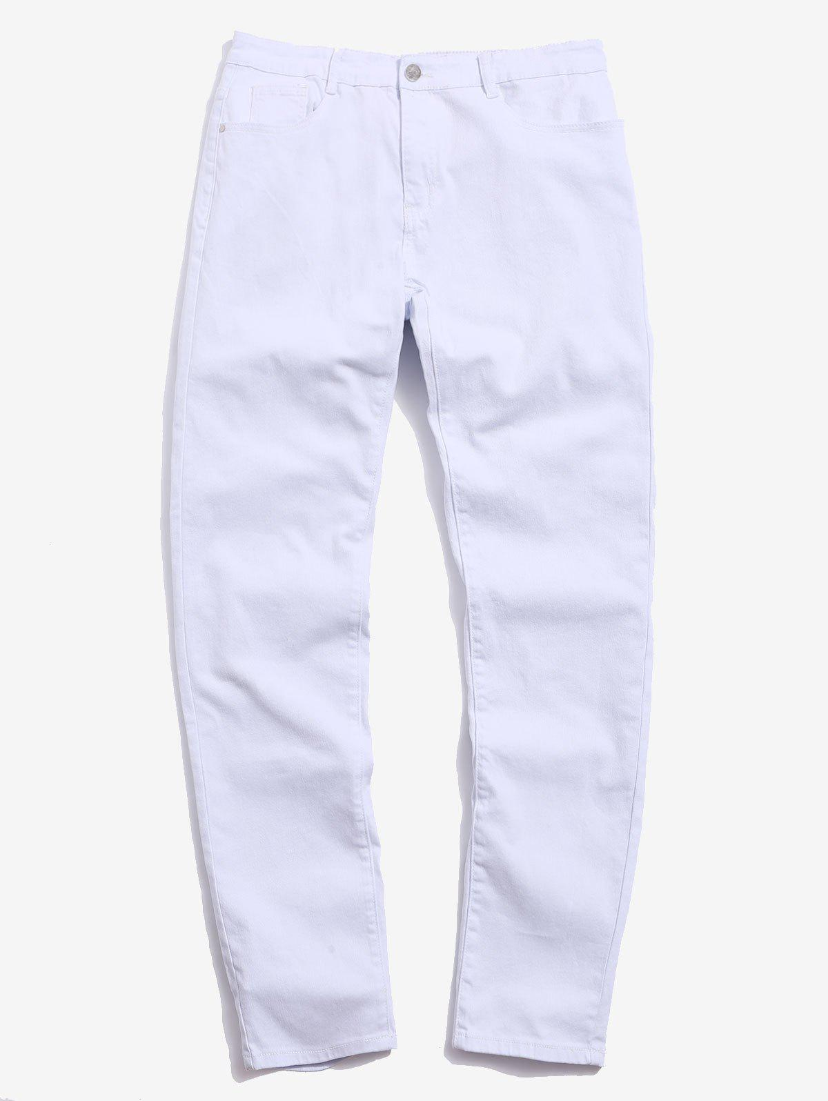 Casual Solid Color Zipper Fly Jeans - WHITE 36