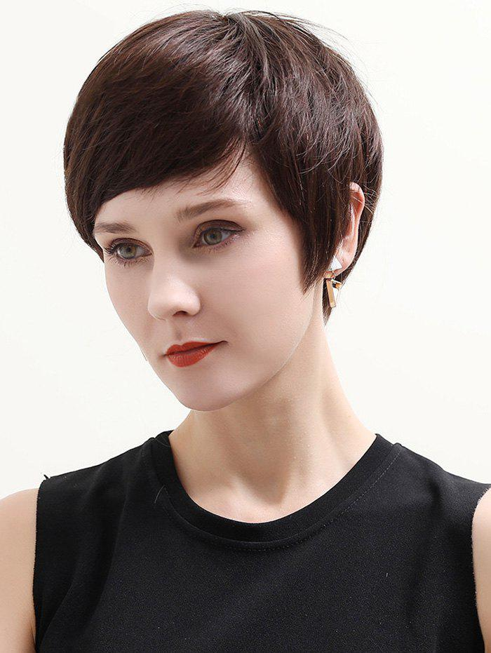 Short Inclined Bang Straight Human Hair Lace Front Wig - DEEP BROWN