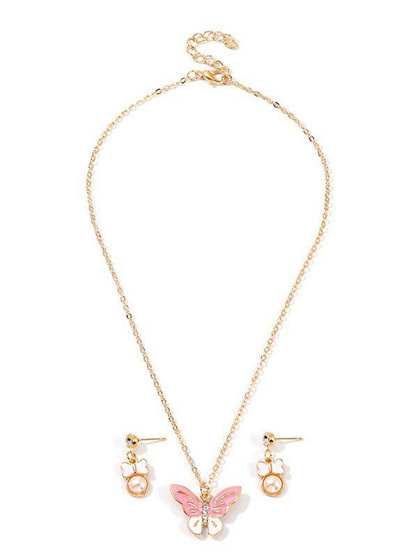 Butterfly Faux Pearl Drop Earrings And Necklace Set - GOLD